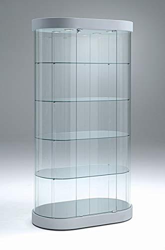 Vitrina de cristal ovalada para exposiciones, 100 cm de ancho, 4 luces LED y candado, vitrina de presentación para exposiciones o ferias