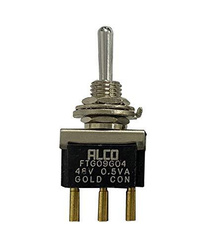 ALCO FTG09G04 Interruptor de palanca de 3 marchas, doble reinicio izquierdo y derecho, interruptor basculante de 0,5 VA 48 V chapado en oro - ON 3-6437630-8 SPDT