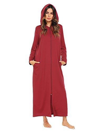 Ekouaer Snap Front Fleece Robe- Long Hooded Bathrobe,Wine Red,Medium