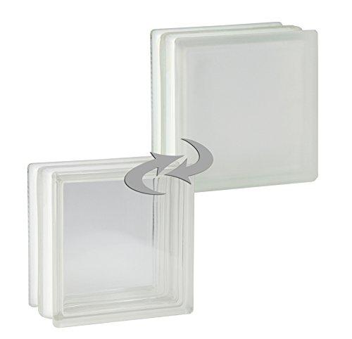 4 Stück FUCHS Glassteine Vollsicht Weiß 1-seitig satiniert (Milchglas) 19x19x10 cm - F30 (Brandschutz)