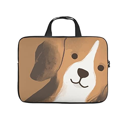 Facbalaign Funda para portátil con diseño de perro, duradera, de alta calidad con asa., Blanco, 12 pulgadas,