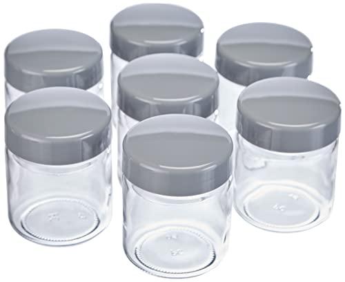 Ersatzgläser für Joghurtbereiter, Joghurtgläser mit Deckel (7 x 150 ml), passend zu den SEVERIN Joghurtmaschinen JG 3516 / JG 3518 / JG3519 / JG 3520 / JG 3521 und JG 3525, grau, EG 3513