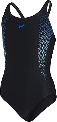 Speedo Plastisol Placement Muscleback Mädchen Badeanzug, Schwarz/Blue Flame/Light Adriatic, 11-12 Jahre