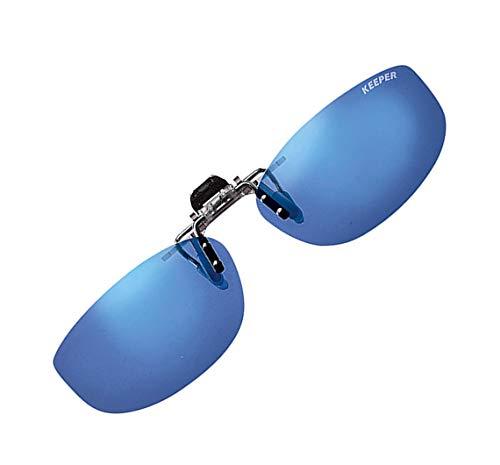 キーパー 日本製 偏光 前掛け クリップ 式 サングラス メガネの上から 紫外線カット UVカット 超軽量 跳ね上げ式 男女兼用 幅広 横長 タイプ 9330-33