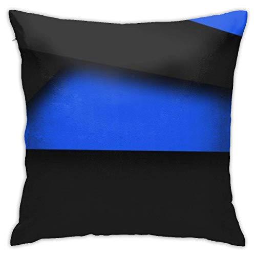 baoan Funda de cojín negra y azul Home Throw funda de cojín decorativa cuadrada 45 x 45 cm