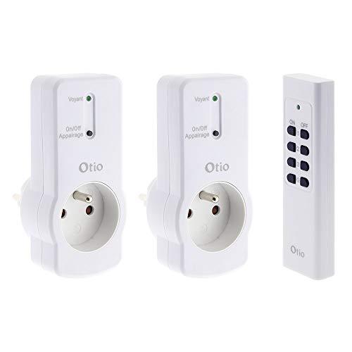 Otio - Lot de 2 prises 10A 2P+T télécommandées avec télécommande - Blanc