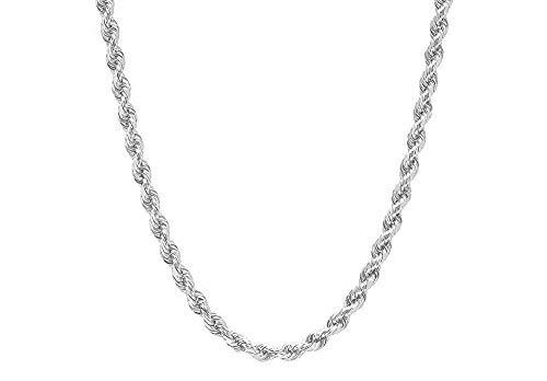 Mens Italian 925 Sterling Silver Diamond Cut Rope Chain Necklace, 5MM, 6MM, 7.5MM,8.5MM- Mens Rope Chain, Sterling Silver Rope Chain Necklace For Men, Mens Rope Chain Bracelet