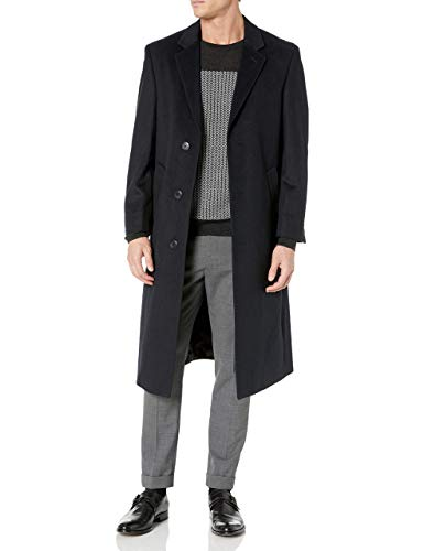 Adam Baker Men's Single Breasted 40819 Luxury Wool Full Length Topcoat - Navy - 40R