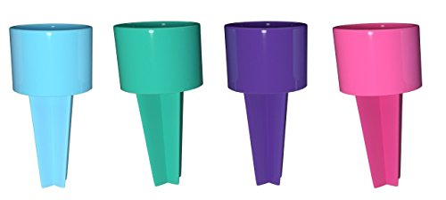 SPIKER Set of 4 Plastic Beach Beverage Sand Cup Holders (Blueberry, Teal, Purple, Hot Pink)