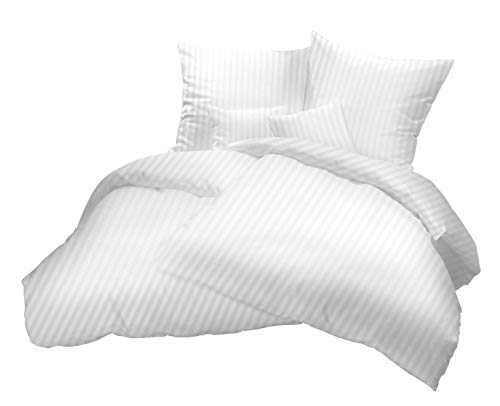 """Damast Hotel-Bettwäsche Set """"Balzana"""" 155x220 cm weiß gestreift - Bettdecke und Kopfkissen-Bezug aus Satin-Baumwolle mit Reißverschluss - Der elegante Bett-Bezug mit leichtem Glanz für das ganze Jahr"""