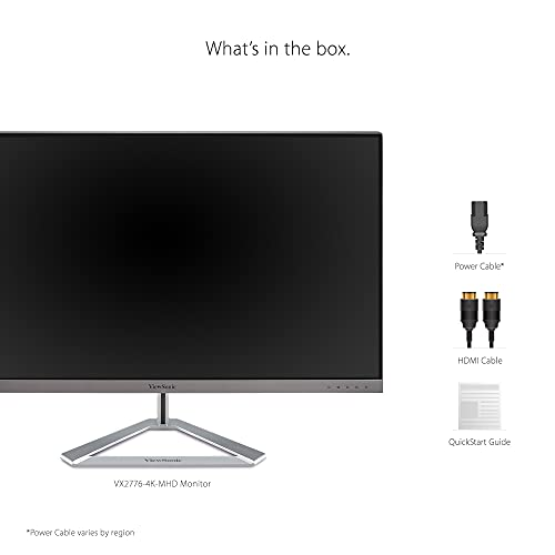 ViewSonic VX2776-4K-MHD 27 Inch Frameless 4K UHD IPS Monitor with HDR10 HDMI and DisplayPort for Home and Office,Black