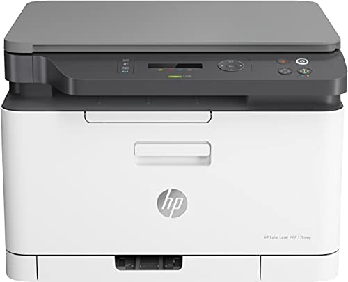 HP Color Laser MFP 178nw 4ZB96A, Impresora Láser Color Multifunción, Imprime, Escanea y Copia, Wi-Fi, Ethernet, USB 2.0 alta velocidad, HP Smart App, Panel de Control LCD, Blanca y Gris