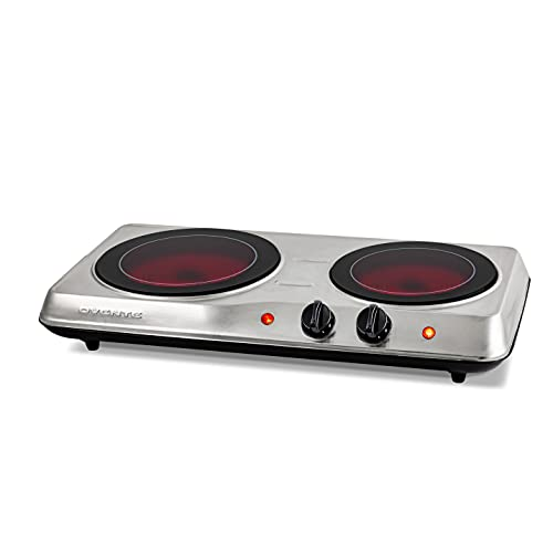 Ovente 1700W Double Hot Plate Electric Countertop Infrared Stove 6.5 & 7 Inch with 5 Level Temperature Control & Stainless Steel Base, Easy Clean Portable Cooktop Burner for Cooking, Silver BGI102S