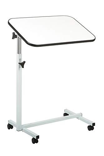 Pflegetisch, Beistelltisch, Betttisch, Bett-Tisch, weiß - grau