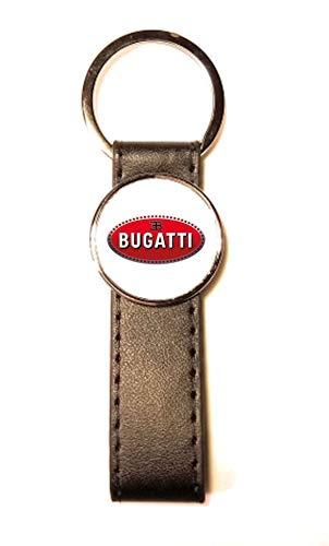 Llavero de Acero y Piel sintética Classic Circle Bugatti Blanco
