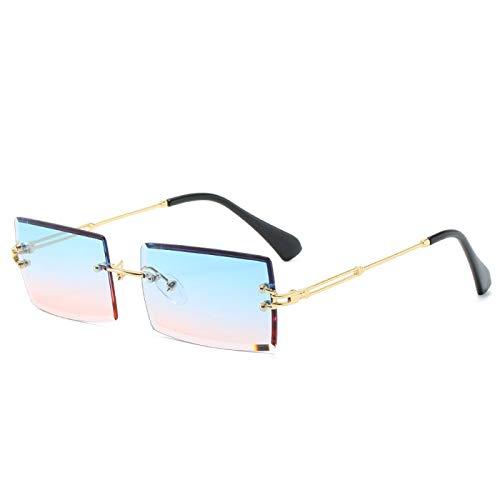 YOULIER Mujeres Gafas De Sol Sin Fronteras Pequeñas Gafas Cuadradas Lentes De Color Océano Uv400 06Gold-BluePink