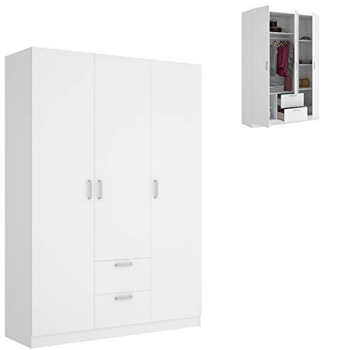 HABITMOBEL Armario ropero de Tres Puertas y Dos cajones, Color Blanco, Medidas 150 cm (Largo) x 215 cm (Alto) x 52 cm (Fondo)