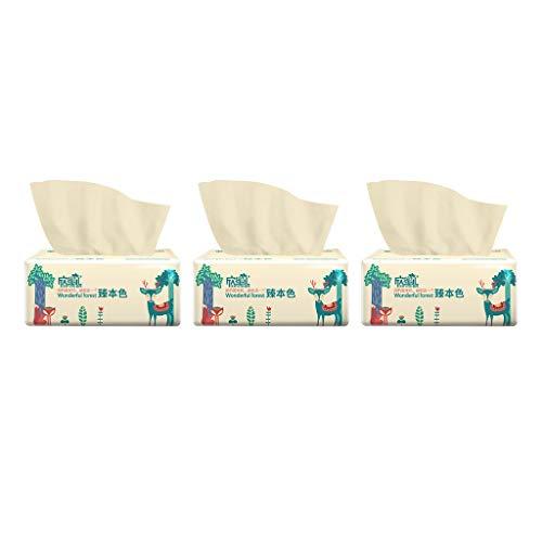 Papiertaschentücher-Boxen 3-lagig Kosmetiktücher 3er Pack (3 x 300 Tücher) Papiertücher aus 100% Bambus, Angenehm Zäh Weich Sicher und Saugfähig, für Schwangere Frauen und Babys Celucke