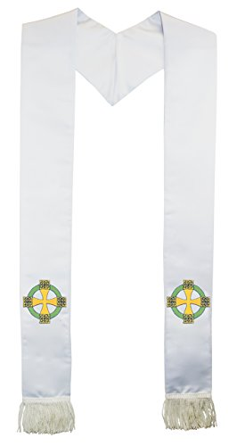 Deluxe White Satin Clergy Stole with Embroidered Celtic Cross