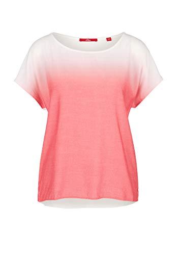 s.Oliver Damen Materialmix-Shirt mit Farbverlauf coral gradient 44