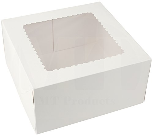 Beautiful White Paperboard Pastry, Bakery Box - Keep Donuts, Cookies, Muffins Safe - Unique Auto Popup Feature and Clear Window for Visibility Size 10 Length X 10 Width X 5 Height (15 Pieces)