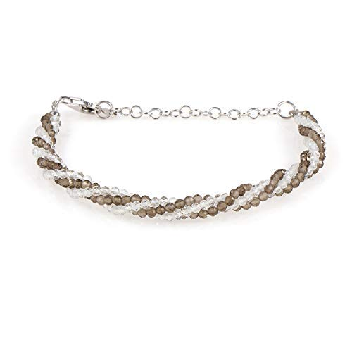 White Topaz and Smoky Quartz Twisted Gemstone Bracelet, Bracelet, Multi gemstone rope style bracelet, Gift for her…