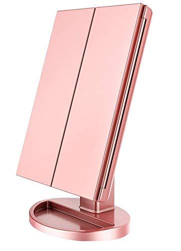 Espejo Maquillaje con Luz,HOMI Espejo de Maquillaje Tríptico con Aumento 1x, 2X, 3X,21 Luces LED Espejo Cosmético de Tocador, Adjustable 180º,Mejor Regalo(Oro Rosa)