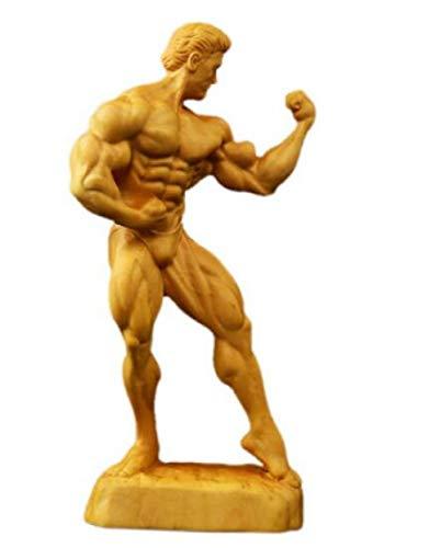 GLKHM Statue Dekoration Skulpturen Skulptur Statue Charakter Muskel Mann Holz Handwerk Home Dekoration Ornamente