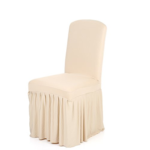Anself Ruffled Stretchable Washable Dining Chair Cover Spandex Seats Slipcover for Wedding Party/Hotel (Champagne)