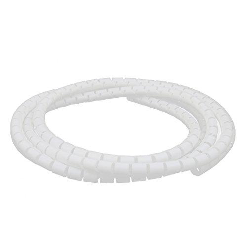 sourcing map Câble flex tube spirale fil blanc 10mm Diax2M long avec clip