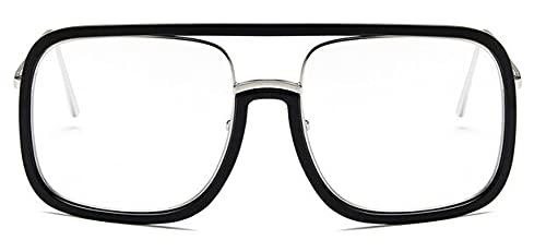 LOPIXUO Gafas de sol Nuevas gafas de sol cuadradas de gran tamaño para mujer, retro, transparentespara hombres, gafas para mujer, negro transparente