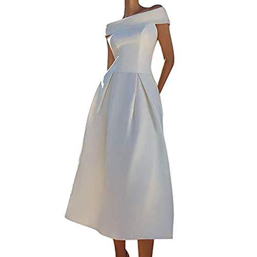 Ci-ONE Vintage Princess Wedding Dress Off Shoulder Evening Dress Tea Length Ivory, 12