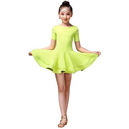 ZHANG Vestido de Baile para Niñas, Falda, Disfraz Latino, de Manga Corta, Licra, Rumba Latina, Vestido de Samba, Tutú, Actuación en El Escenario,Green-160