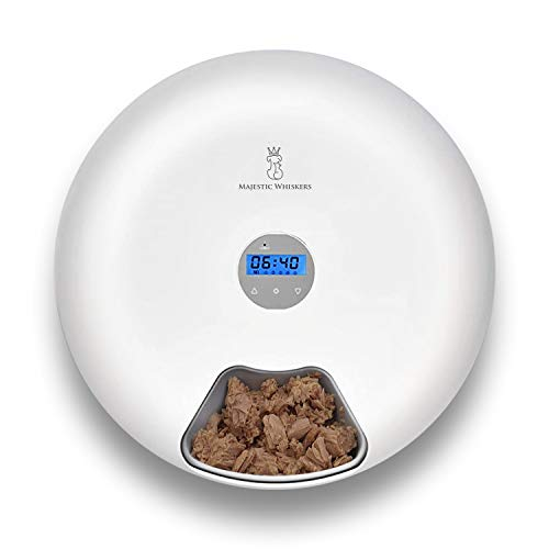 Automatic Cat Feeder - 6-Meal Wet and Dry Food Programmable Auto Dispenser with...