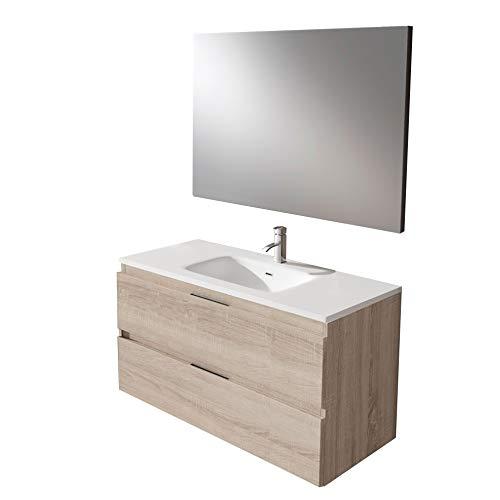 Mueble Montado 100cm Roble claro 2 Cajones + Lavabo + Espejo