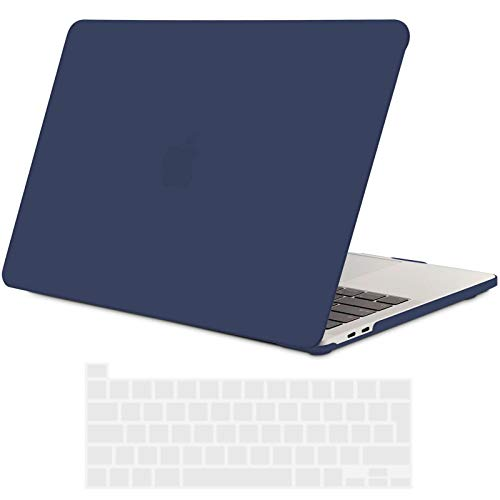 TECOOL MacBook Pro 13 inch Case 2020, Plastic Protective Hard Shell Case Cover and EU Keyboard Cover for Apple New MacBook Pro 13 Retina with Touch Bar, Model: A2289 / A2251 - Navy Blue