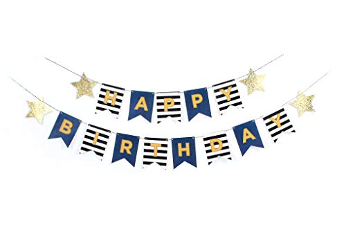 Birthday Banner - Cops and Robbers Party, Police Party, Black Stripes, Happy Birthday Garland, Navy and Black Bunting