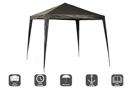 CHILLROI Gazebo pieghevole 3x3m multifunzione grigio PE 200 impermeabile, incl. 4 pareti a finestra, custodia, riparo giardino mercato terrazzo festival camping