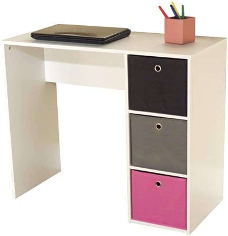 Kids Desk With Three Fabric Storage Bins Multiple Colors