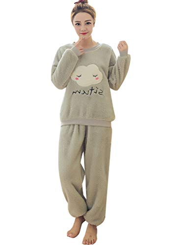 ORANDESIGNE Mujer Otoño Invierno Pijama de Dos Piezas Pijamas de Franela Suave Cálida Ropa de Dormir Pijamas de Manga Larga Gris Nube ES 38