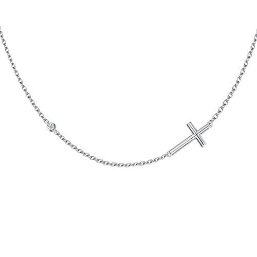 Horizontale Croix Collier Pendentif pour Femme Argent 925/1000 - Chaîne Ajustable: 40 + 5 cm