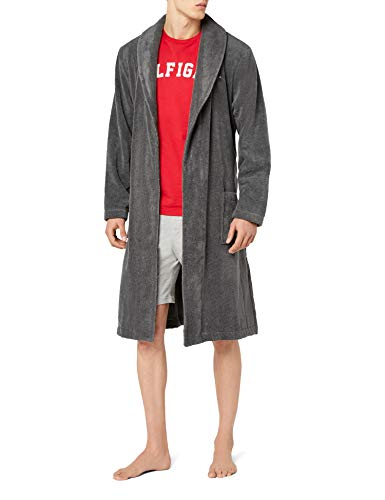 Tommy Hilfiger Herren Bademantel Icon bathrobe, Gr. Medium, Grau (MAGNET 884)