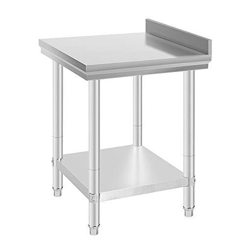 Flyelf Tavolo da Lavoro Piano di Lavoro per Cucina,Gastronomia tavolo da lavoro in acciaio inox con Alzatina, Piedini regolabili 61 * 61 * 90 cm