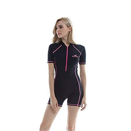 iYmitz Damen UV Schutz Einteiliger Surfanzug Badeanzug Badebekleidung Wassersport Anzug Wetsuit(Schwarz,2XL)