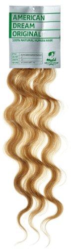 American Dream - A4/QFC12/18/27 - 100 % Cheveux Naturels - Douce Ondultation - Pièce Unique Extensions à Clipper - Couleur 27 - Blond Riche - 46 cm