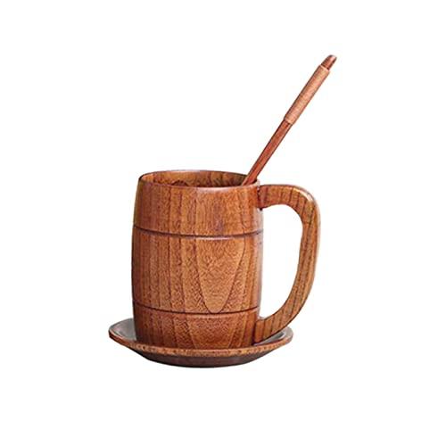 Yuoan Jarra de cerveza de madera con mango, vaso de madera natural, hecha a mano, accesorio vintage, para beber cerveza, taza de café, para bebidas en casa o fiesta