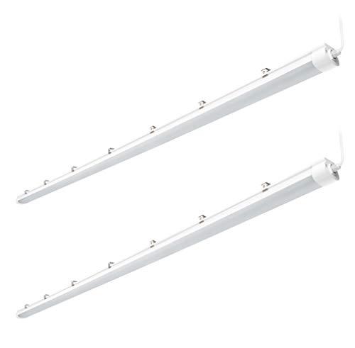 Hyperikon Vapor Proof LED Fixture 8 Foot Shop Light, 120W Commercial Garage Lights, Frosted Lens, Crystal White, DLC, 2 Pack
