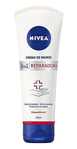 NIVEA Crema de Manos Reparadora 3 en 1 (1 x 100 ml), crema calmante para manos agrietadas y muy secas, crema hidratante para conseguir unas manos suaves