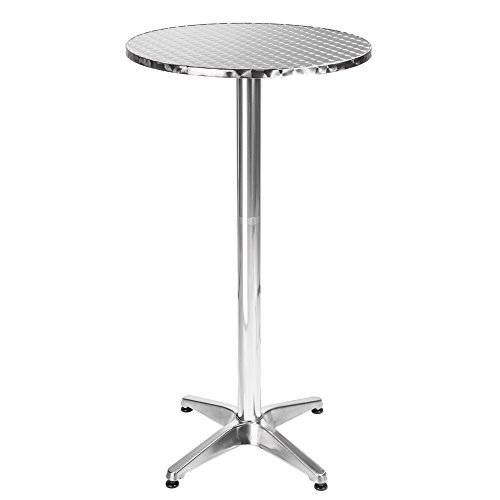 "TecTake Table haute de bar aluminium hauteur réglable 70 ou 110 cm Ø 60cm - Tube central Ø: 5,8 cm - 7,6 kg (""Frederic"" 