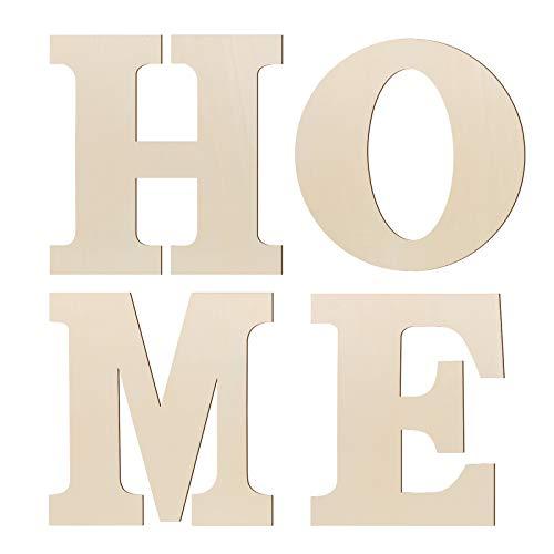 Amosfun 4 Stücke Holz Home Buchstaben Holzbuchstaben Wandbuchstaben Wohnzimmer Wanddeko Wandobjekt Wandaufkleber Deko Objekt Alphabet Holzscheiben Hochzeit Geschenke DIY